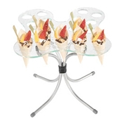 Gourmet Display Cone Holder Butterfly Tray & Metal Riser Set - Display Risers