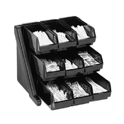 Cambro Organizer Black Rack w/9 Bins - Condiment Servers