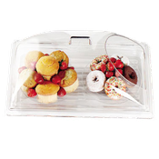 "Cambro Display Dome with 1 End Cut 12""Wx20""Lx6-5/8""H Clear Cover - Servingware"