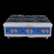 "Globe Countertop GHP36G 36"" 6-Burner Gas Hot Plate - Hot Plates"