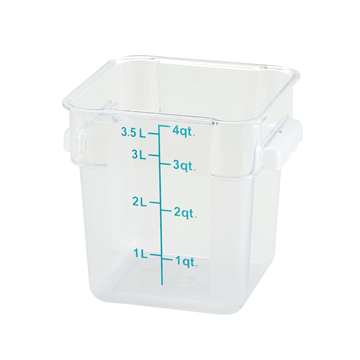 Winco PCSC-4C 4 qt Polycarbonate Square Food Storage Container