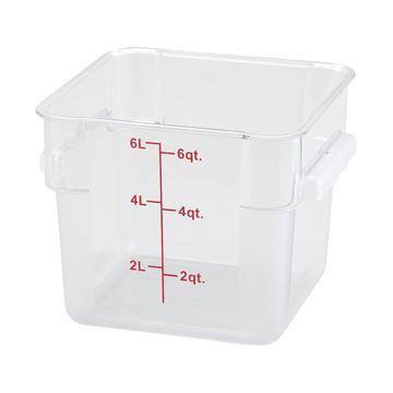 Winco PCSC-6C 6 qt Polycarbonate Square Food Storage Container