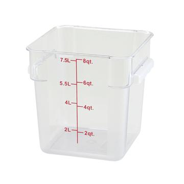 Winco PCSC-8C 8 qt Polycarbonate Square Food Storage Container